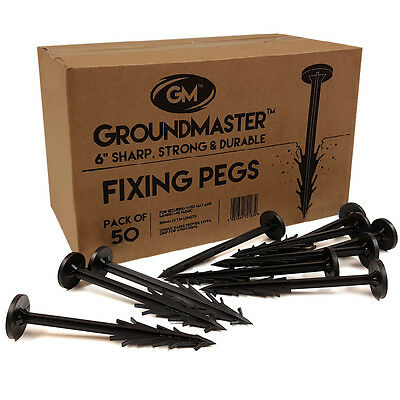 "Groundmaster™ Heavy Duty 6"" Pegs Weed Control Membrane Fabric Fixing Anchors"