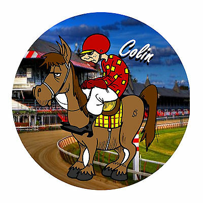 Horse Racing Fun Personalised Round Souvenir Fridge Magnet - Gifts - Any Name