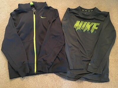 Nike Dry Fit Long Sleeve Shirt And Therma Fit Hooded Sweatshirt Size 10/12 Youth