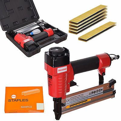 2 in 1 Air Nail Staple Gun 10-50mm Narrow Crown Stapler + 5000x 40mm Staples