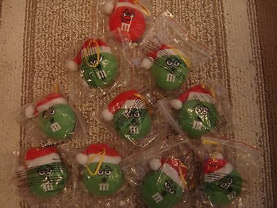 10 M & M Candy Stuffed Red and Green Christmas Ornaments with Santa Hats - New