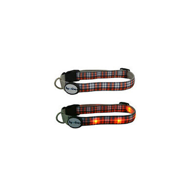 Dog E Glow Orange Plaid LED Light Dog Collar - Accessories - Dog - Night & Safet