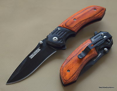 Tacforce Wood Handle Spring Assisted Knife With Pocket Clip - 8 Inch Overall