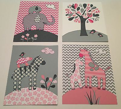 PINK GRAY ELEPHANT GIRAFFE KIDS MODERN CHEVRON ZIG ZAG baby children NURSERY art