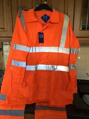 Hi Vis Orange Waterproof Safety Jacket And Trousers Bnwt Size XL