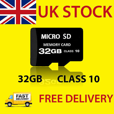 32GB Micro SD TF Class 10 Flash Memory Card + Adapter for Phones Tablets Cameras