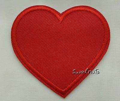 Iron on RED Embroidered Fabric Love Heart Patch Applique Motif  - 6cm