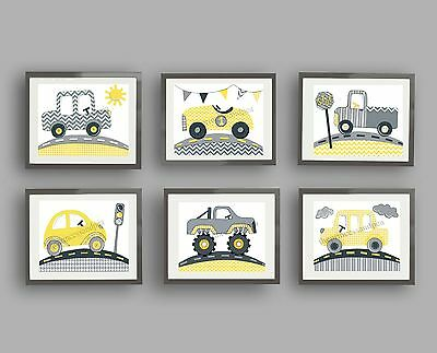 yellow gray nursery wall art car truck transportation children chevron prints