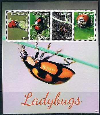 Bloc Sheet Insectes Insects Coccinelles Ladybugs Neuf MNH ** Gambia Gambie 2014