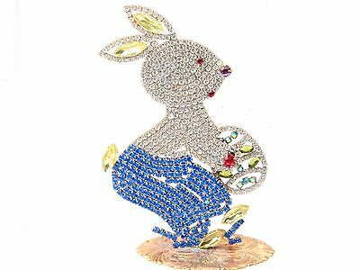 Free standing large bunny rabbit eggs Easter ornament Czech glass rhinestones