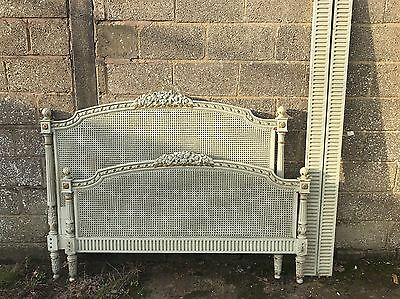 Rare, French, Antique, Vintage Original Painted King Size Bed, 160x200cm Rattan