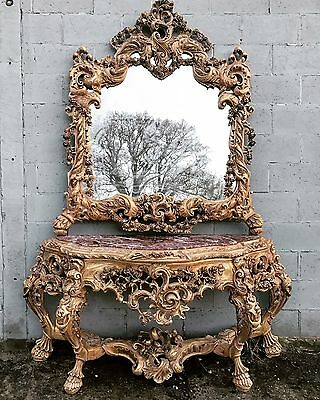 8.5ft Tall, Stunning Antique, French Baroque, Console Table, Mirror, VERY RARE