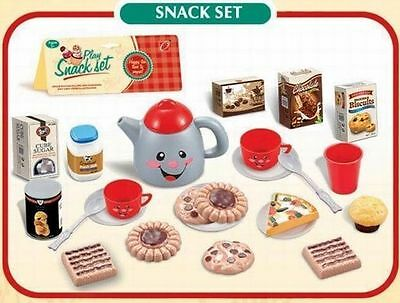 Kids Tea Set With Plastic Snacks Food Afternoon Teapot Cups & more accessories