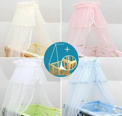 Crown Canopy / Drape / Mosquito Net + Holder To Fit Crib / Cradle / Moses Basket