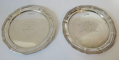 Pair antique silver salvers / trays / waiters Sheff 1915 & 1925 - 8.5 tr oz - 6""