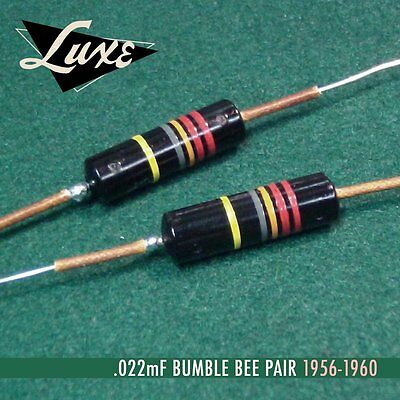 LUXE RADIO 1956-1960 MATCHED PAIR CAPACITORS PIO .022mF - 0.022uF BUMBLEBEE