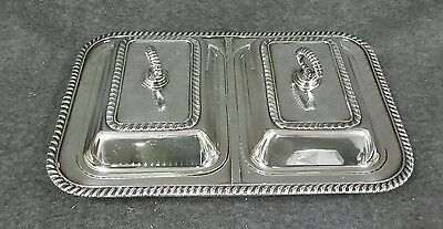 Silverplate Double Entree Covered Serving Tray by FB Rogers 1883 Antique