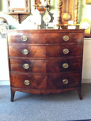 Antique George III Flamed Mahogany Bow Front Chest of Drawers