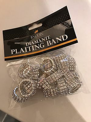 Lincoln Diamanté 20 Plaiting Bands Silver New In Bag