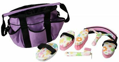 Showman 6 piece FLOWER design GROOMING KIT in PURPLE Nylon Cordura Carry Bag