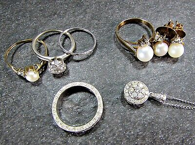 Vintage & Modern Fine Jewelry Lot- Gold, Diamond, Pearl- Ring, Necklace, Earring