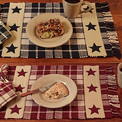 Primitive Farmhouse Star Country Placemat Set of 4, Burgundy or Black and Tan