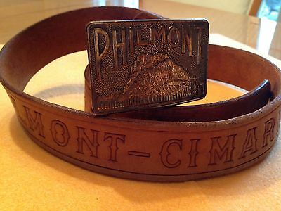 VTG 1970's Boy Scout Philmont Cimmaron leather belt & Buckle Size 34