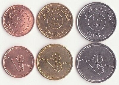 IRAQ, 25, 50, 100 Dinars 2004 AU, Set of 3 Coins