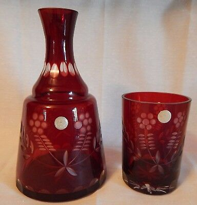 Vintage Ruby Cut to Clear Glass and Decanter - Made in Romania