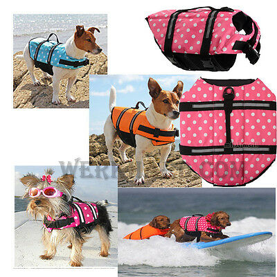 Dog Pet Vest Sailing Surfing Swimming Boating Life Preservers Jacket Reflective