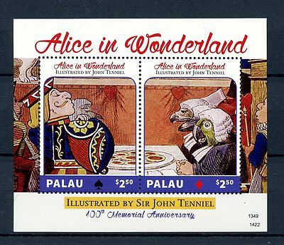 Palau 2014 MNH Alice in Wonderland Sir John Tenniel 100th Mem 2v S/S II Stamps