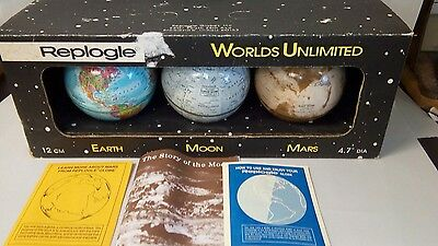 "3 Vintage Replogle 4.7"" Globes ~ Mint in Box - Mars- Moon - Earth"