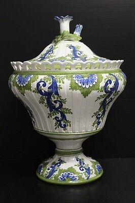 Large Hand Painted Meiselman Imports Soup Tureen / Vase w/ Flower Finial, 14""
