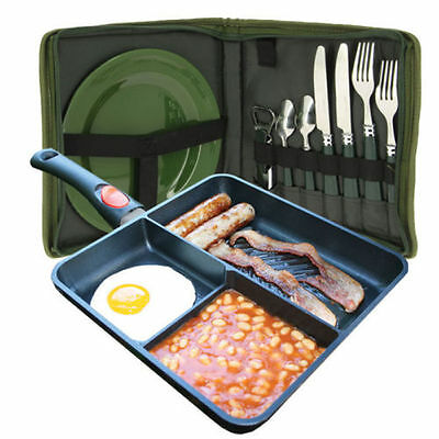 Ngt Day Cutlery Carp Fishing Set & Multi Section Cooking Camping Frying Pan