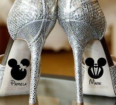 Wedding Custom Name Minnie Mickey Mouse Shoe Bride Stickers