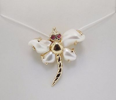 14K Yellow Gold Dragonfly Pin w/ Unique White Freshwater Pearls & Ruby Accents