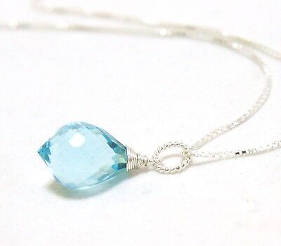 Sky Blue Aquamarine Briolette Wire Wrapped Pendant Sterling Silver March Birthst