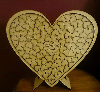 Personalised heart dropbox guestbook & sign wedding 20-100 wooden hearts