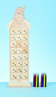 Christmas Decorations - Wooden Santa Advent Calendar - Colour your Own 24 Drawer