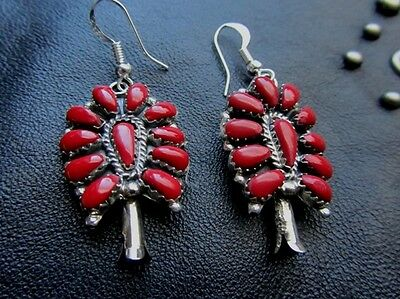 Native American Navajo Earrings Sterling Silver Coral Petit Point