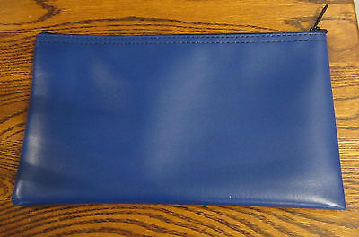 1 Blue Vinyl Zipper Bank Bag Money Jewelry Pouch Coin Currency Wallet Coupons