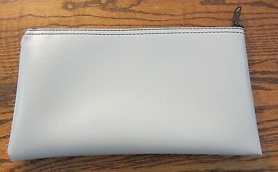 1 Gray Vinyl Zipper Bank Bag Money Jewelry Pouch Coin Currency Wallet Coupons