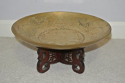 "Vintage Engraved China Brass 12"" Dragon Bowl w/ Carved Wood Stand Wok Shape"