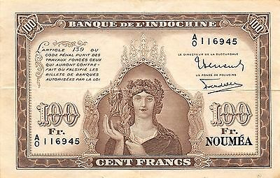 New Caledonia  100 Francs  ND. 1942  P 44  Series A/0 circulated Banknote