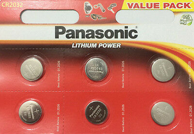 6 x Panasonic CR2032 3V Lithium Battery Coin Cell Watch Fob Toys Remote Car Key