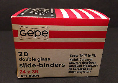 VINTAGE GEPE 24x36 DOUBLE GLASS SLIDE BINDERS/MOUNTS COMPLETE BOX 20pcs BNIB