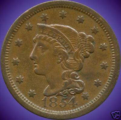 """1854 United States """"Braided Hair"""" Large 1 Cent Coin"""