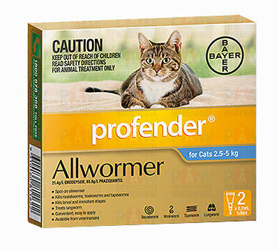 Profender All Wormer for Cats Weighing 2.5kg to 5kg Spot On Treatment - 2 PACK