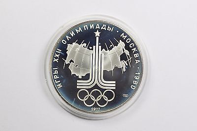 1977 Russia USSR 10 Rubles 1980 Olympics Moscow Proof Silver Coin Moskau Map