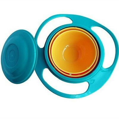 Baby Gyro Bowl Children Kids Bowl 360 Rotate Spill-Proof Bowl Dishes+Lid New